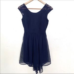 Band of Gypsies navy lace shoulder dress size XS